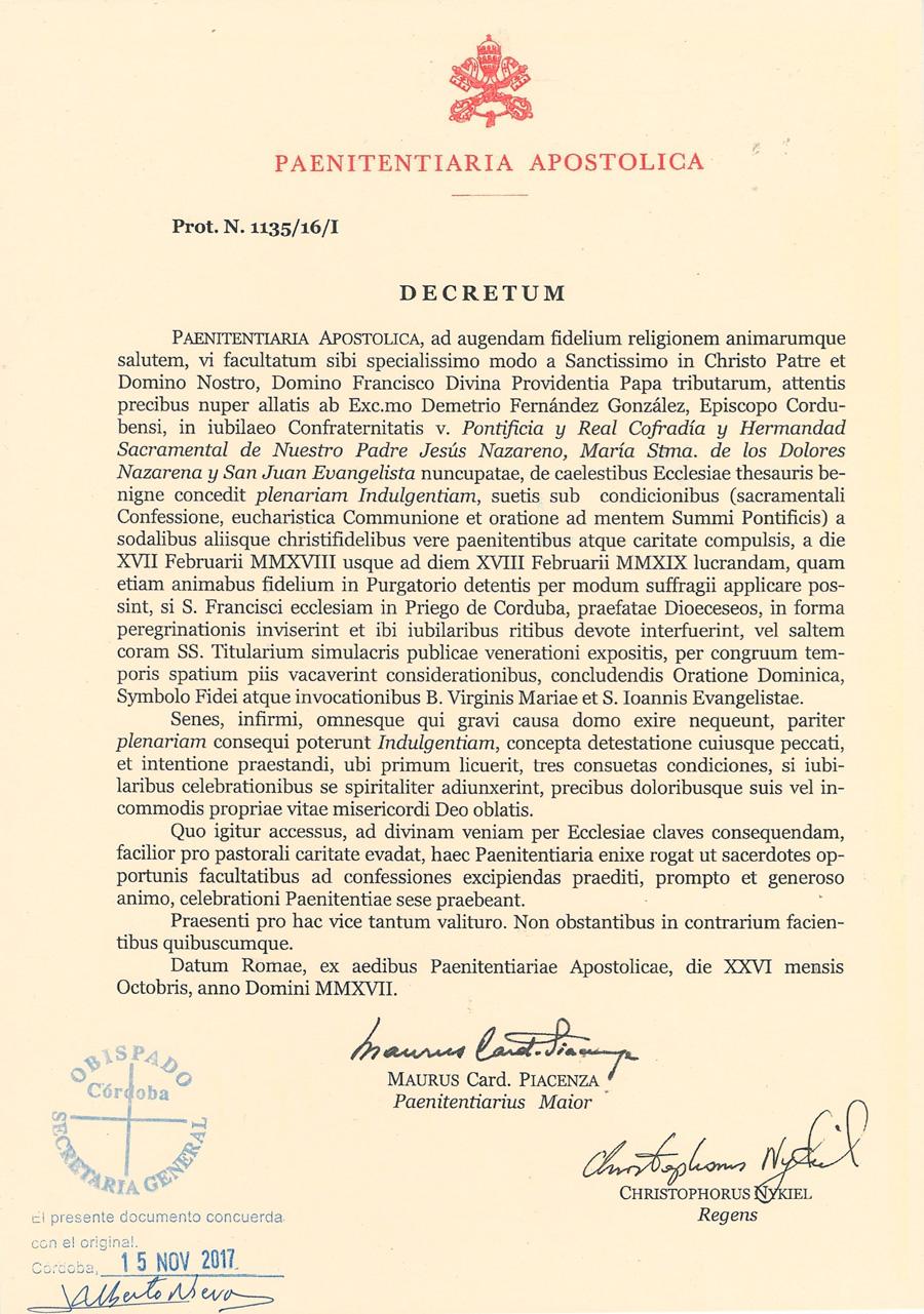 Decreto Año Jubilar Latín
