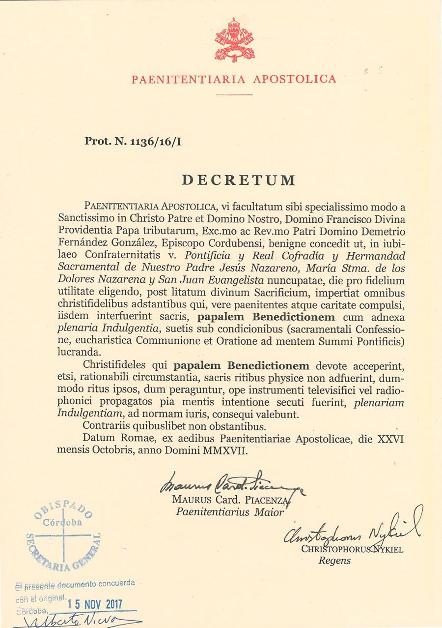 Decreto Sr. Obispo en Latín