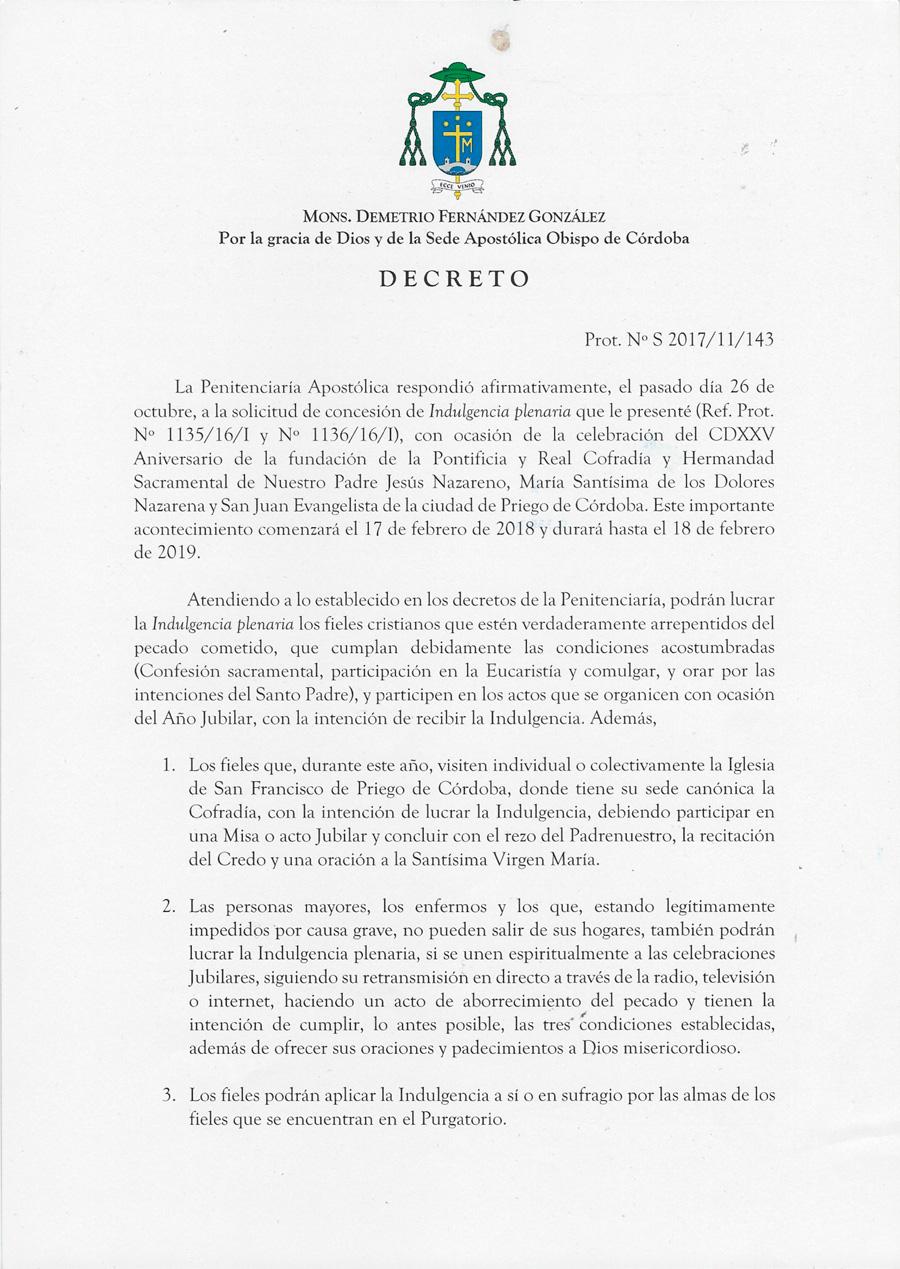 Decreto Obispado Año Jubilar Nazareno