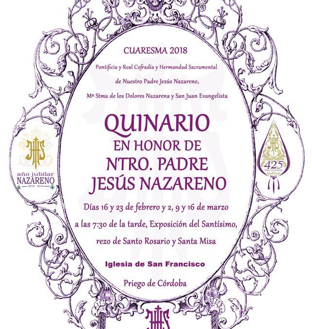 Quinario en honor a Ntro. Padre Jesús Nazareno. Cuaresma 2018.