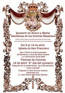 Quinario en Honor a María Stma. de los Dolores Nazarena @ Iglesia de San Francisco
